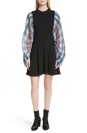 Opening Ceremony Plaid Flare Dress, Black