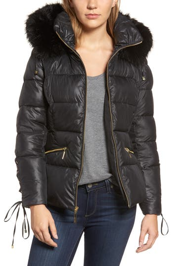 Women's Kensie Lace Sleeve Puffer Coat With Faux Fur Trim Hood
