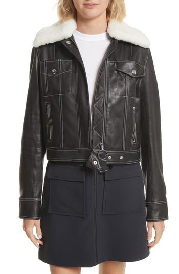 Grey Jason Wu Shrunken Leather Jacket With Removable Genuine Shearling Collar, Black