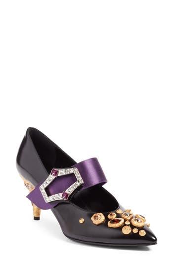 Women's Prada Jeweled Mary Jane Pump
