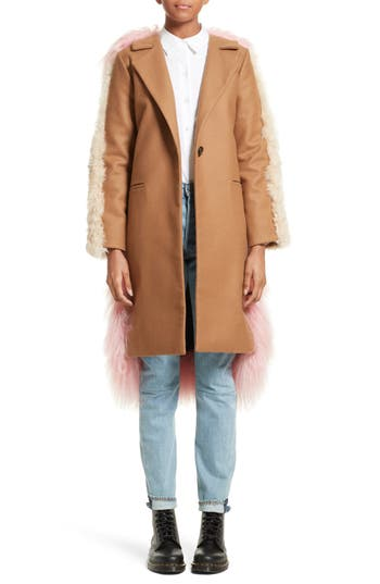 Sandy Liang Mingo Wool Blend & Genuine Shearling Coat, 6 FR - Beige