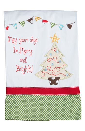 Glory Haus Merry & Bright Tea Towel, Size One Size - Ivory