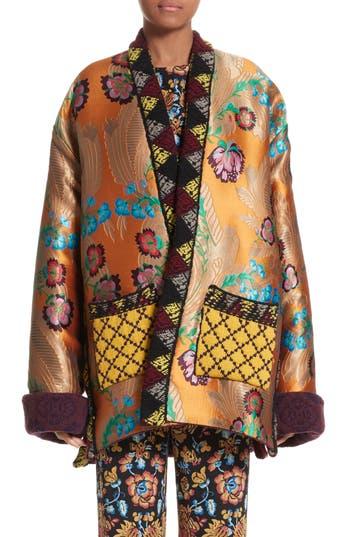 Women's Etro Reversible Knit & Jacquard Wool Blend Jacket, Size 6 US / 42 IT - Burgundy