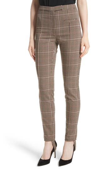 Women's Tracy Reese Plaid Stirrup Pants, Size 2 - Brown
