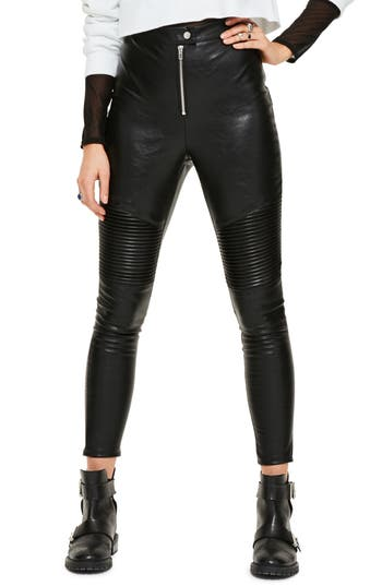 Women's Missguided Faux Leather Crop Biker Pants