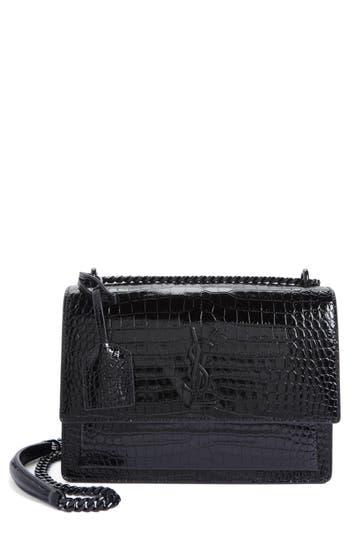 Saint Laurent Medium Sunset Croc Embossed Leather Shoulder Bag - Black