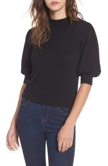 Vintage & Retro Shirts, Halter Tops, Blouses Womens Leith Puff Sleeve Sweater $59.00 AT vintagedancer.com