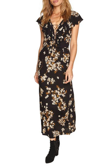 Women's Amuse Society Alana Floral Lace-Up Dress