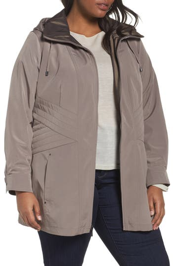 Plus Size Women's Gallery Two-Tone Long Silk Look Raincoat, Size 1X - Beige