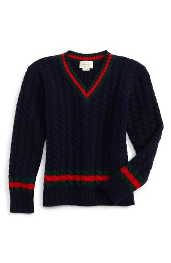 1920s Children Fashions: Girls, Boys, Baby Costumes Boys Gucci Cable Knit Wool Sweater Size 10 - Blue $325.00 AT vintagedancer.com