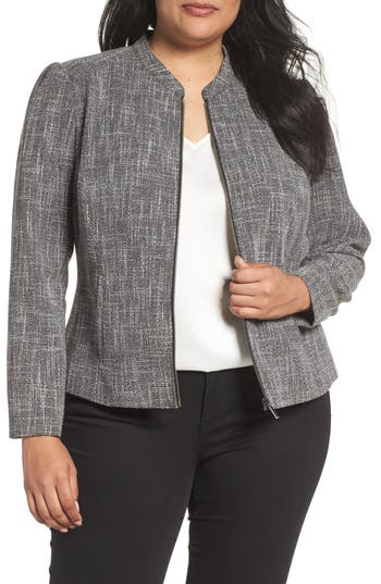 Plus Size Women's Sejour Fitted Tweed Jacket