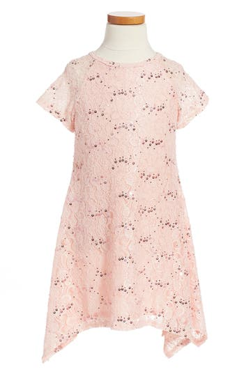 Girl's Twirls & Twigs Lace Sequin Dress, Size 5 - Pink