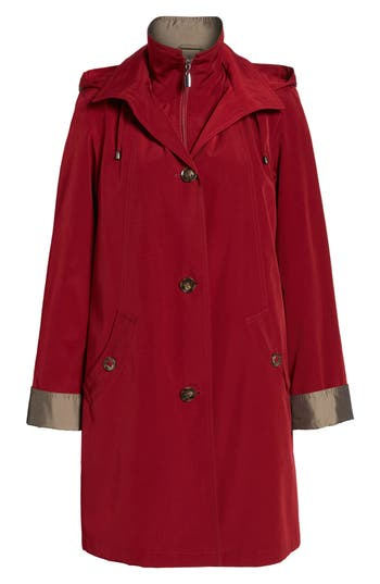 Women's Gallery A-Line Raincoat With Detachable Hood & Liner, Size Large - Red