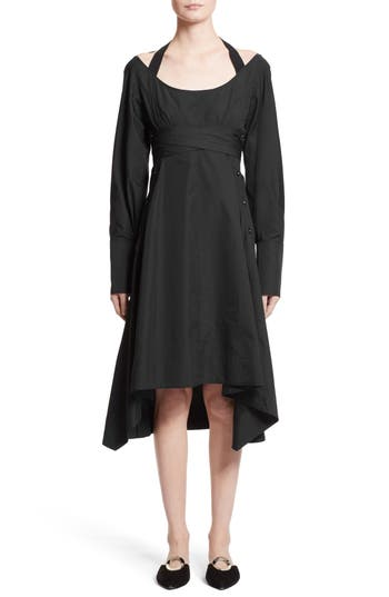 Women's Proenza Schouler Cotton Poplin Wrap Dress, Size 4 - Black