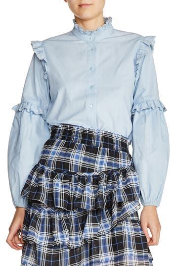 Victorian Style Blouses, Tops, Jackets Womens Maje Ruffle Trim Poplin Blouse $275.00 AT vintagedancer.com