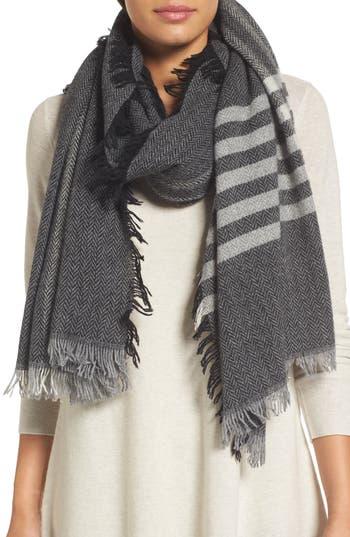 Women's Eileen Fisher Plaid Wool Blend Scarf
