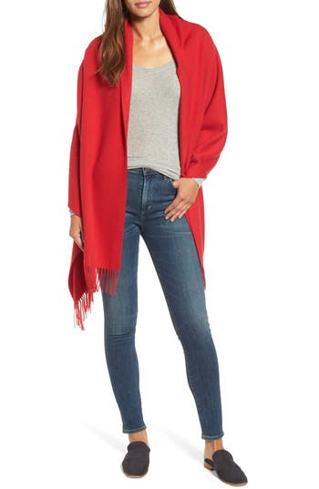 Women's Nordstrom Collection Oversize Cashmere Wrap, Size One Size - Red
