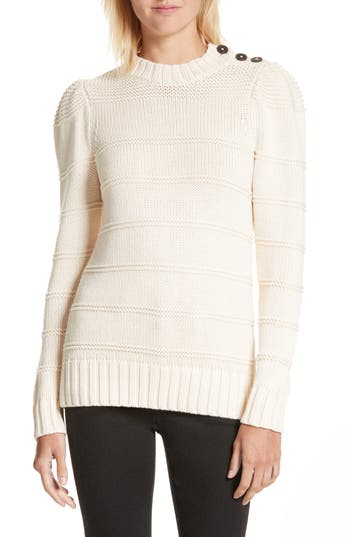 Women's La Vie Rebecca Taylor Stripe Cotton & Merino Wool Sweater, Size Large - Ivory
