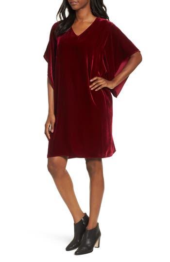 Women's Eileen Fisher V-Neck Velvet Kimono Dress
