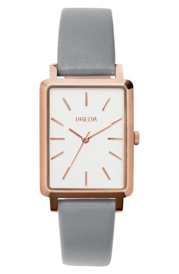 Breda Baer Rectangular Leather Strap Watch, 2m