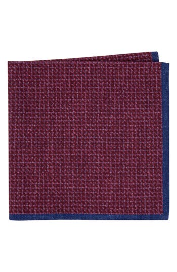 Men's Ted Baker London Grid Wool Pocket Square, Size One Size - Red