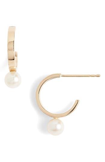 Women's Poppy Finch Pearl Station Hoop Earrings