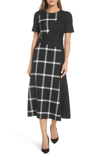 Women's Boss Dilarea Windowpane Colorblock Midi Dress, Size 0R - Black
