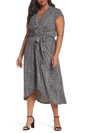 Plus Size Women's Michael Michael Kors Cheetah Wrap Midi Dress, Size 2X - Black