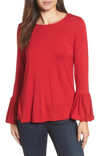 Women's Bobeau Bell Sleeve Top, Size Small - Red