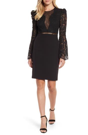 Women's Bardot Lace Bodice Cocktail Dress, Size X-Small - Black