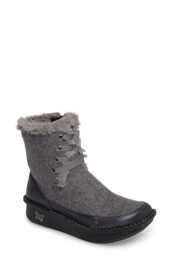 Alegria Twisp Lace-Up Boot With Faux Fur Lining, Grey