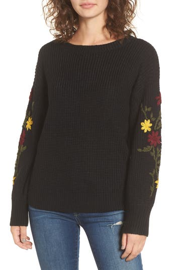 Women's Dreamers By Debut Embroidered Sleeve Sweater, Size X-Small - Black