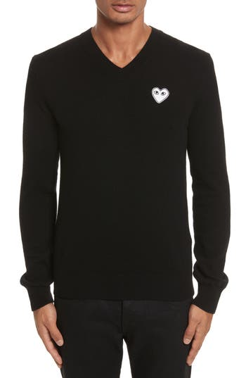 Comme Des Garcons Play White Heart Wool V-Neck Sweater, Black