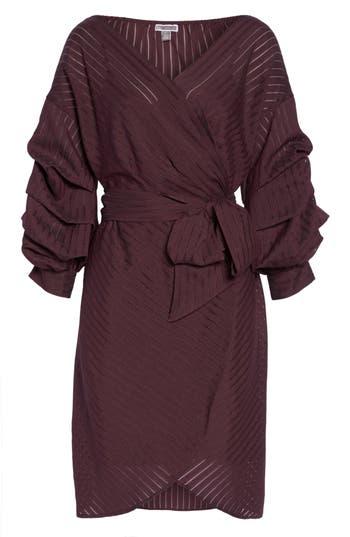 Women's Chelsea28 Shadow Stripe Wrap Dress, Size X-Small - Burgundy
