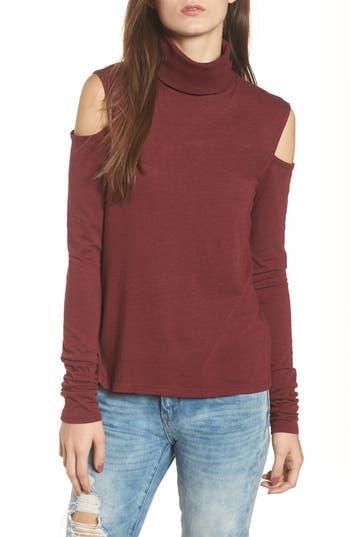 Women's Pam Gela Cold Shoulder Turtleneck Tunic Sweater, Size Petite - Burgundy