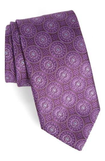 Men's Canali Medallion Silk Tie, Size Regular - Purple