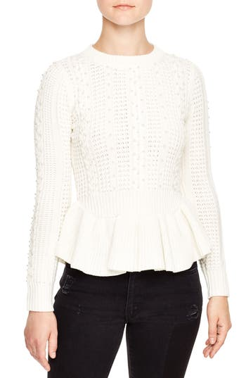 Women's Sandro Rickie Peplum Sweater, Size 1 - White