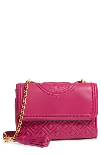379045cfe1e1 Tory Burch Small Fleming Quilted Lambskin Leather Convertible Shoulder Bag  - Purple In Party Fuchsia