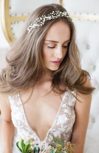 Brides & Hairpins 'Arabella' Jeweled Halo & Sash, Size One Size - Grey