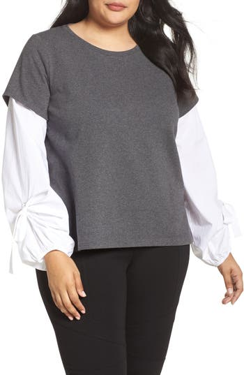Plus Size Women's Two By Vince Camuto Bubble Tie Sleeve Mix Media Pullover, Size 1X - Grey