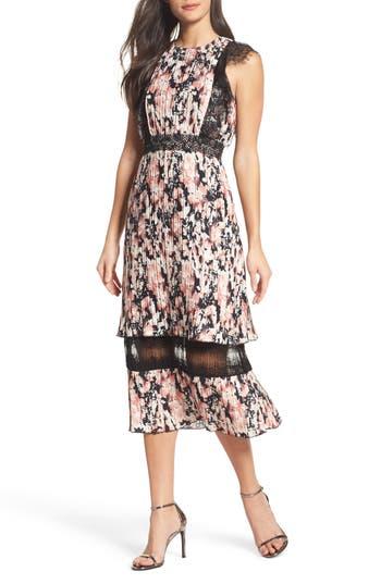 Women's Foxiedox Jasmine Lace Trim Pleated Floral Midi Dress