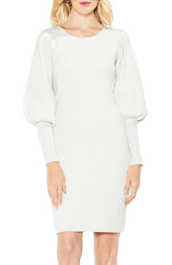 Vince Camuto Bubble Sleeve Textured Jacquard Dress, White