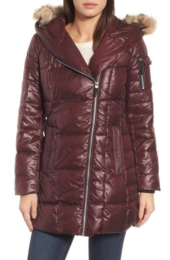 Andrew Marc Down & Feather Fill Coat With Genuine Coyote Fur, Burgundy