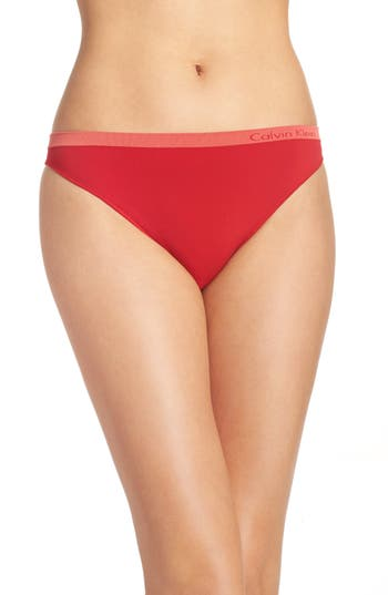Women's Calvin Klein 'Pure' Seamless Thong, Size Small - Red