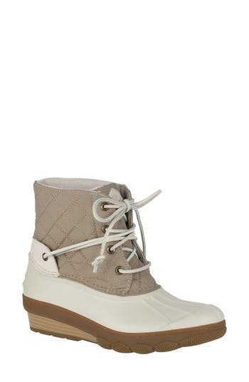 Sperry Saltwater Quilted Watperproof Boot, Ivory