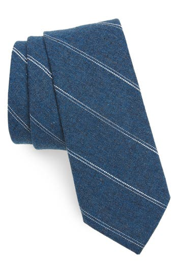 1960s Men's Ties | Skinny Ties, Slim Ties Mens Nordstrom Mens Shop Palamino Stripe Cotton  Linen Skinny Tie Size Regular - Bluegreen $39.50 AT vintagedancer.com