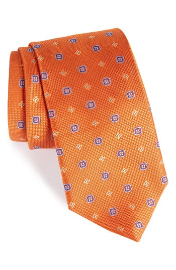 Men's David Donahue Neat Silk Tie, Size Regular - Orange