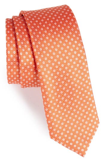 Men's The Tie Bar Market Geometric Silk Skinny Tie, Size Regular - Orange