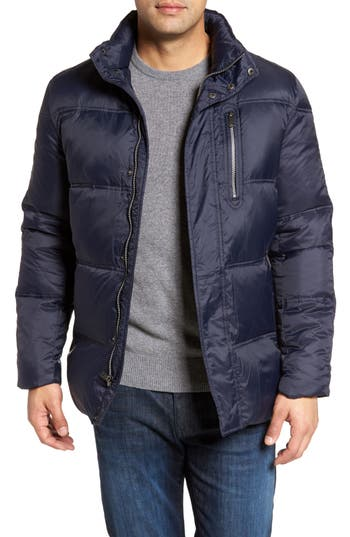 Cole Haan Quilted Jacket With Convertible Neck Pillow, Blue