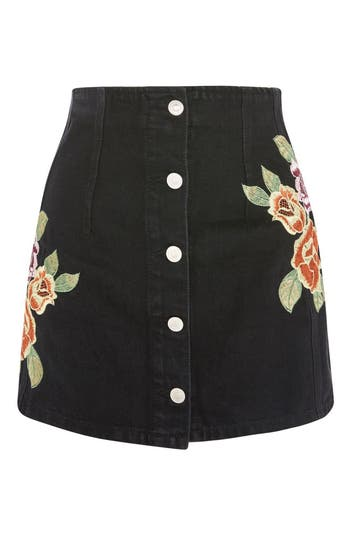 Women's Topshop Embroidered Button Front Denim Skirt